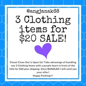 💜 Buy 3 Clothing Items For $20